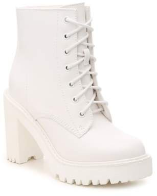 White Combat Boot with Heel 1