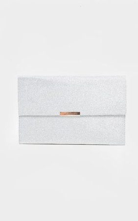 Silver Textured Glitter Basic Clutch | PrettyLittleThing