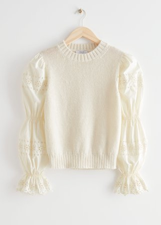 Embroidered Puff Sleeve Sweater - Cream - Sweaters - & Other Stories