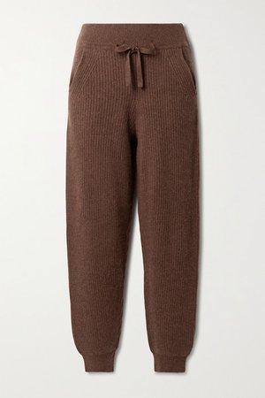 Pierce Ribbed Cashmere Track Pants - Chocolate