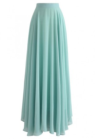 Timeless Favorite Chiffon Maxi Skirt in Mint - Retro, Indie and Unique Fashion