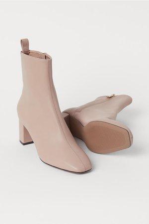 Block-heeled Ankle Boots - Beige - Ladies | H&M US