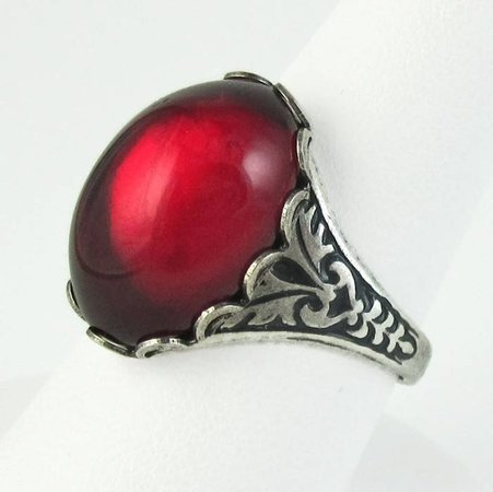 RED Vampire Kiss Ring Gothic Vintage Glass Ring Antique Silver   Etsy