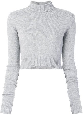 Grey wool cropped turtleneck jumper from Faith Connexion