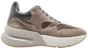 Suede, Leather And Mesh Exaggerated-sole Sneakers