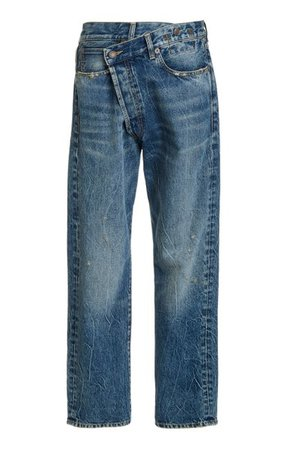 Crossover Distressed Low-Rise Wide-Leg Jeans By R13 | Moda Operandi
