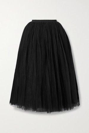 Samantha Pleated Tulle Midi Skirt - Black