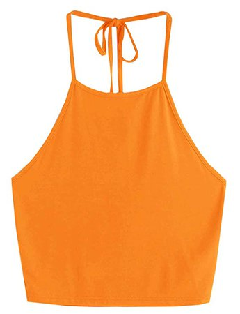 Romwe Women's Casual Camisole Sleeveless Vest Halter Cami Tank Top: Clothing