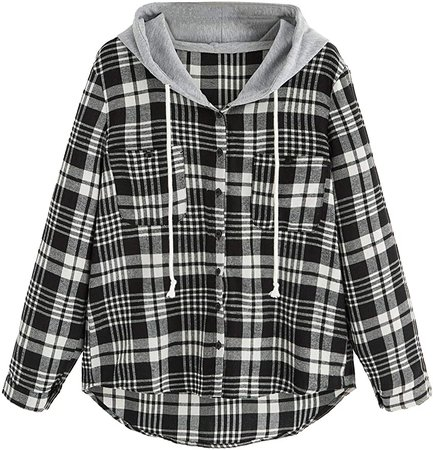 SweatyRocks Women's Long Sleeve Plaid Hoodie Jacket Button Down Blouse Tops at Amazon Women's Clothing store