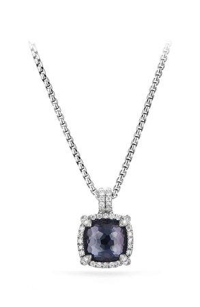 David Yurman Chatelaine Pavé Bezel Pendant Necklace with Black Orchid and Diamonds | Nordstrom