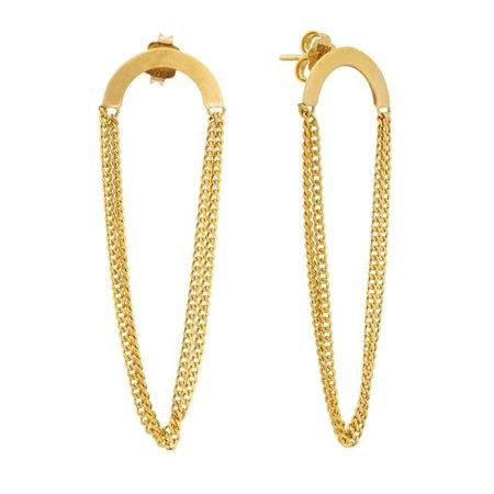 RUNDA Vivace 10K Gold Earrings, Gold Chain Earrings, Geometric Gold Earrings, Minimalist Dangle and Drop Earrings   Runda Jewelry   Wolf & Badger