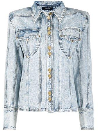 Balmain Veste En Jean à Design à Empiècements - Farfetch