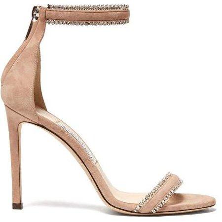 Dochas 100 Crystal Strap Suede Sandals - Womens - Beige