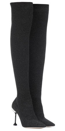 Crystal-embellished metallic ribbed-knit over-the-knee sock boots - Google Search