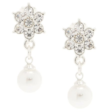 Flower & Faux Pearl Clip On Earrings | Claire's US