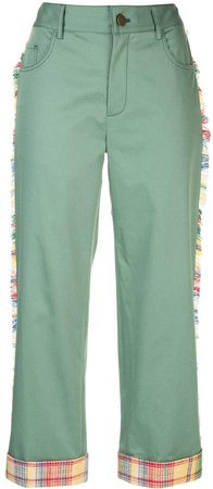 cropped frayed side trim trousers