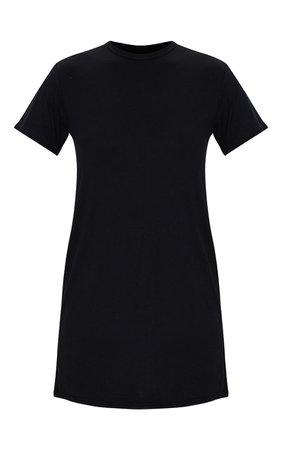 Black Basic Short Sleeve Round Neck T Shirt Dress | PrettyLittleThing