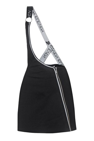 Mini Black Cotton Skirt With Suspender