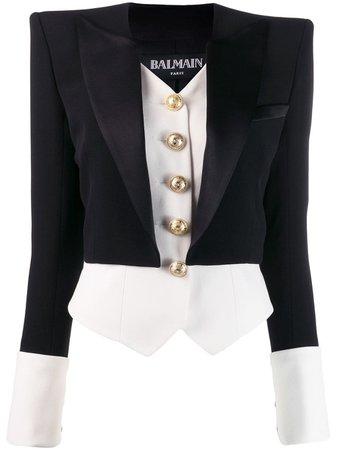 Black Balmain Two-layer Fitted Blazer | Farfetch.com