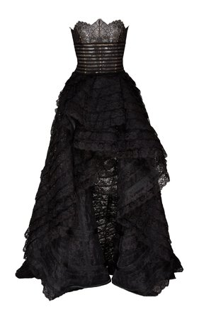 Oscar de la Renta Strapless High Low Ball Gown