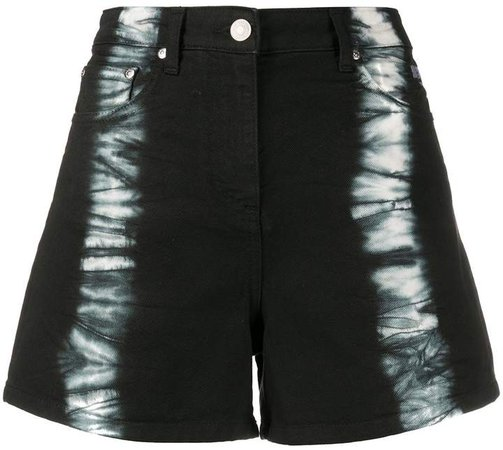 distressed motif denim shorts