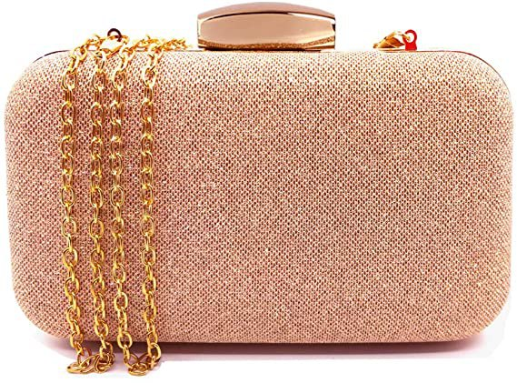 Amazon.com: Glitter Evening Clutches Bags Prom Box Clutch Purses Bridal Purse for women Wedding and Party (Rose Gold): Clothing