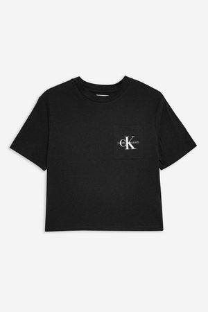 Organic Cotton Crop Monogram T-Shirt by Calvin Klein | Topshop