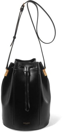 Talitha Medium Leather Bucket Bag - Black