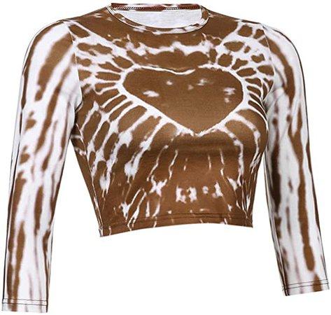 Amazon.com: Women Girls Y2K Gothic Heart Print Crop T Shirts Tops Long Sleeve Slim Fit Crop Tee Top E-Girl 90S Streetwear (Brown, M): Clothing