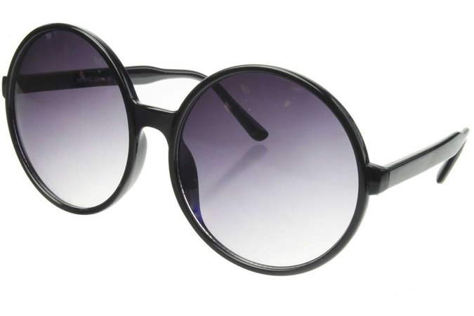 Round Sunglasses Big Oversized XXL Large HUGE Glasses Women Frame Retro Black | eBay