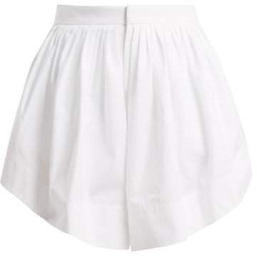 Pleated Cotton Shorts - Womens - White