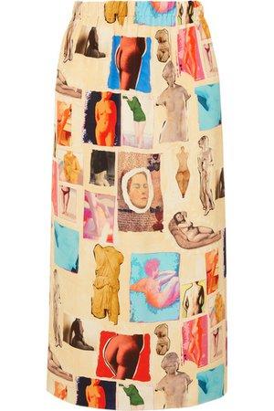 Marni | Printed satin midi skirt | NET-A-PORTER.COM