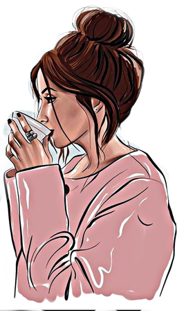 girl drinking coffee drawing - Google Search