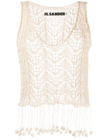 Jil Sander Crochet Knit Vest JPPQ754503WQY24058 Neutral | Farfetch
