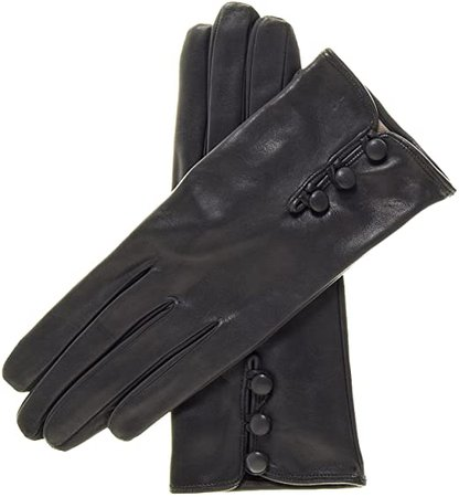 Fratelli Orsini Women's Italian Silk Lined Lambskin Leather Gloves with Buttons Size 6 1/2 Color Black at Amazon Women's Clothing store: Cold Weather Gloves