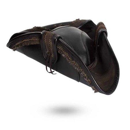 black leather pirate tricorn hat