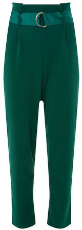 **Green D-Ring Tapered Leg Trousers