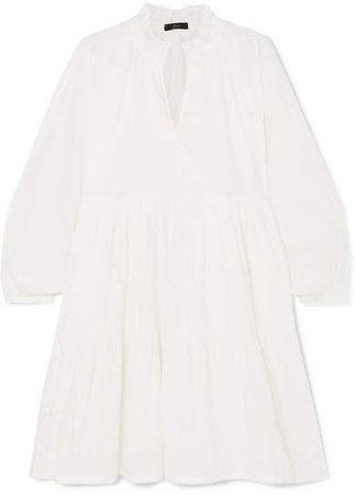 Rebecca Tiered Cotton-poplin Mini Dress - White
