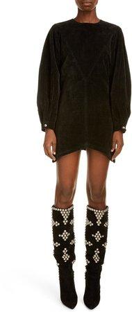 Long Sleeve Silk Velvet Dress