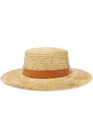 Lack of Color | Spencer leather-trimmed straw hat | NET-A-PORTER.COM