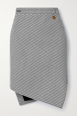 Asymmetric Houndstooth Wool-blend Skirt - Black