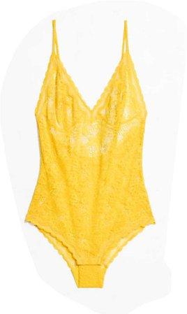 Yellow Lace Bodysuit