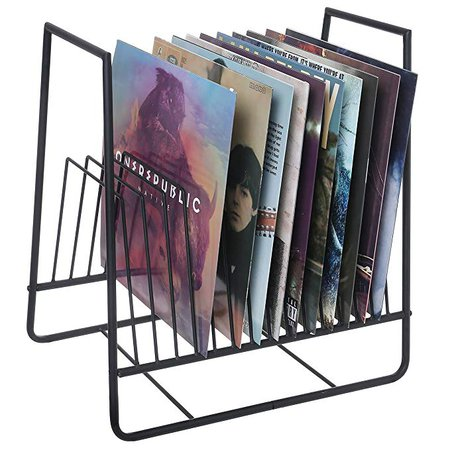 Amazon.com: MyGift Matte Black Metal Vinyl Record Organizer and Media Storage Holder Rack: Kitchen & Dining