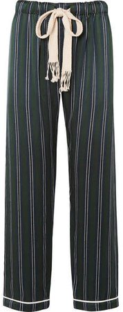 Striped Silk-charmeuse Wide-leg Pants - Navy