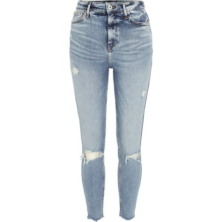 Blue ripped Hailey high rise skinny jeans | River Island