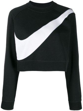 Black Nike Swoosh Fleece Crewneck Sweatshirt | Farfetch.com