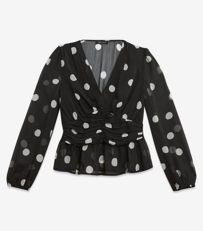 Black Spot Ruched Front Blouse | New Look