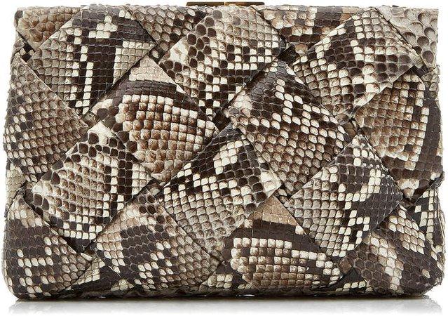 Nancy Gonzalez Woven Frame Python Clutch