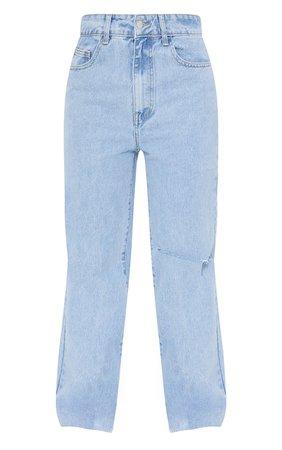 Light Blue Wash Knee Rip Wide Leg Jean | PrettyLittleThing USA