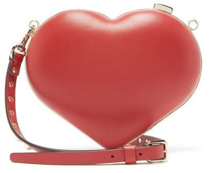Carry Secrets Leather Heart Clutch - Womens - Red